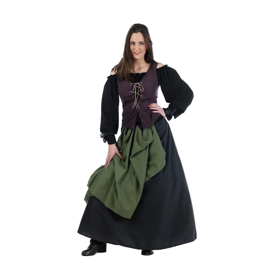 Disfraz de mesonera medieval para adulto oscuro