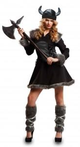 Disfraz vikinga negro para mujer